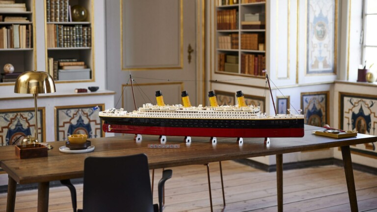 LEGO Titanic measures 53 inches in length & splits into 3 sections with a detailed interior
