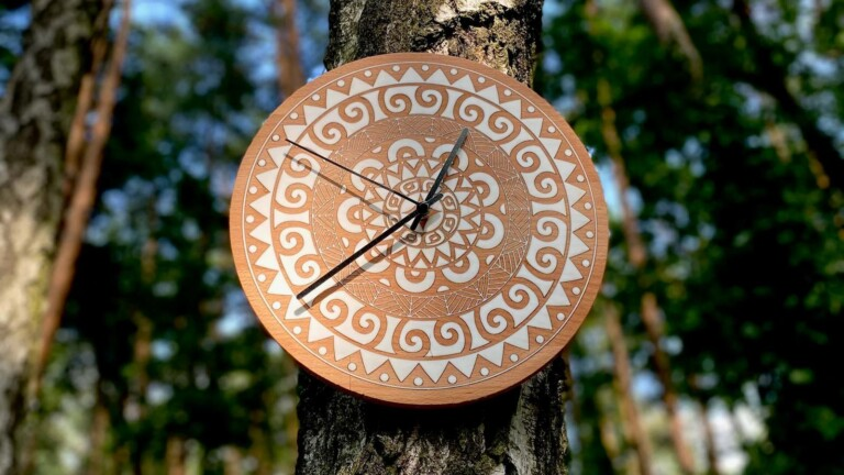 Olimpiclocks unique wall clocks are bohemian in style and made from natural, solid wood