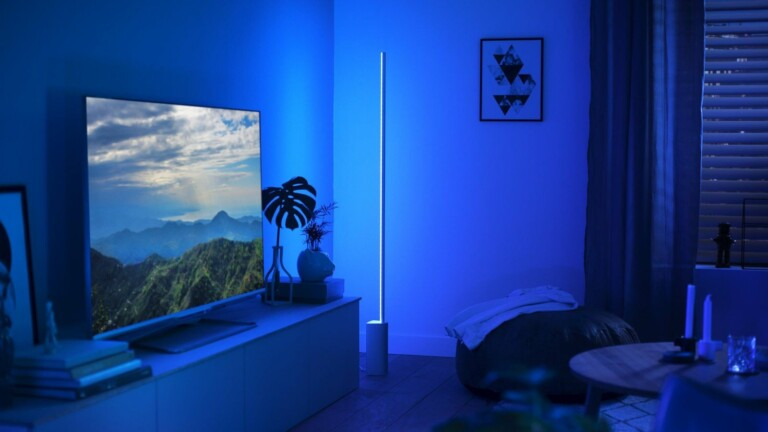 Philips Hue Signe floor lamp offers 16 million colors for a calm or bright ambiance