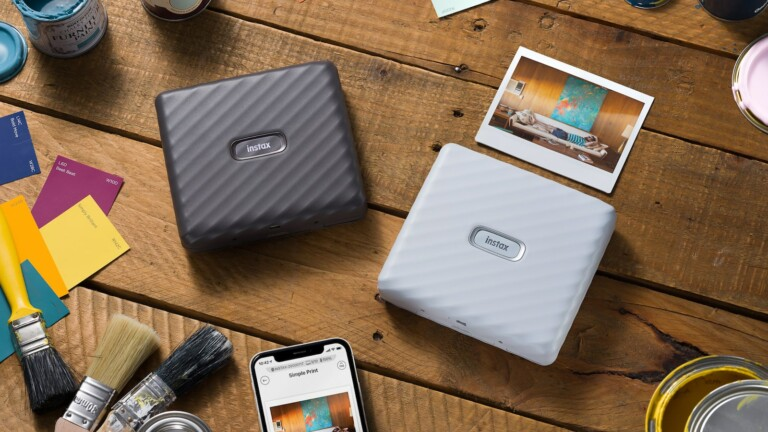 instax Link WIDE smartphone printer offers a wide printing format of 86 mm x 108 mm